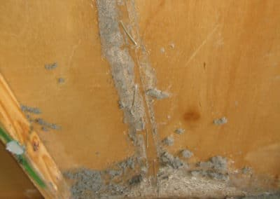 Termite damage due to lack of a termite management system being in place Picture #1.
